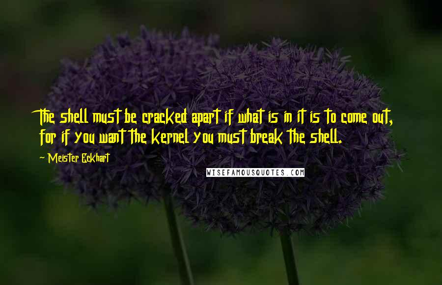 Meister Eckhart quotes: The shell must be cracked apart if what is in it is to come out, for if you want the kernel you must break the shell.