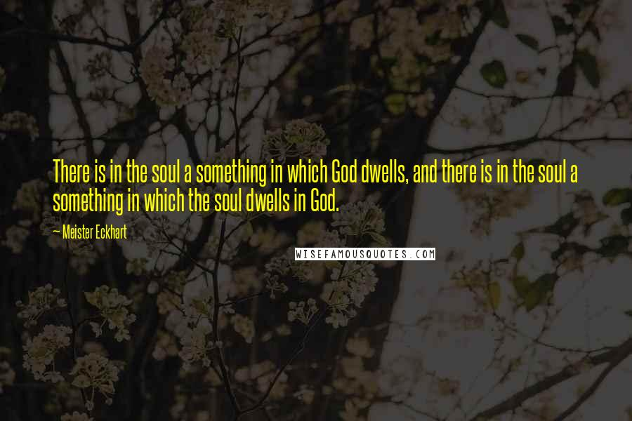 Meister Eckhart quotes: There is in the soul a something in which God dwells, and there is in the soul a something in which the soul dwells in God.
