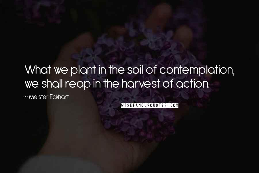 Meister Eckhart quotes: What we plant in the soil of contemplation, we shall reap in the harvest of action.