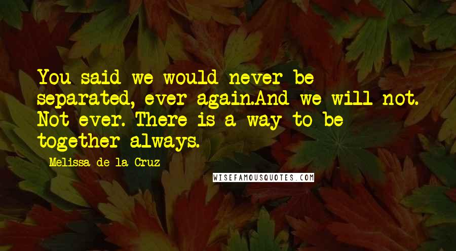 Melissa De La Cruz quotes: You said we would never be separated, ever again.And we will not. Not ever. There is a way to be together always.