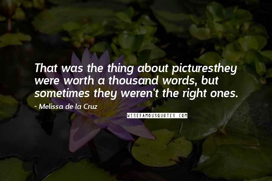 Melissa De La Cruz quotes: That was the thing about picturesthey were worth a thousand words, but sometimes they weren't the right ones.