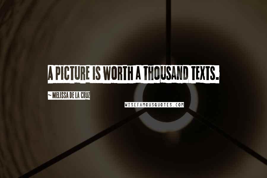 Melissa De La Cruz quotes: A picture is worth a thousand texts.