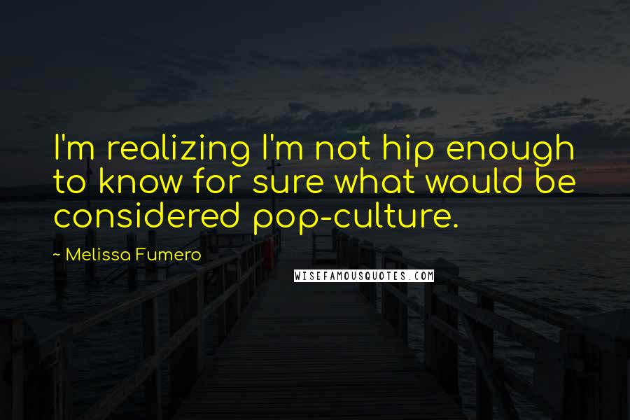 Melissa Fumero quotes: I'm realizing I'm not hip enough to know for sure what would be considered pop-culture.