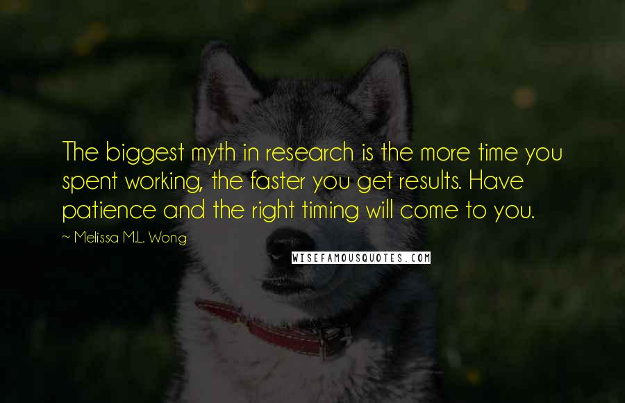 Melissa M.L. Wong quotes: The biggest myth in research is the more time you spent working, the faster you get results. Have patience and the right timing will come to you.