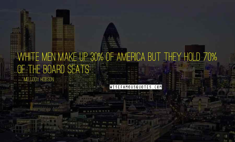 Mellody Hobson quotes: White men make up 30% of America but they hold 70% of the board seats.