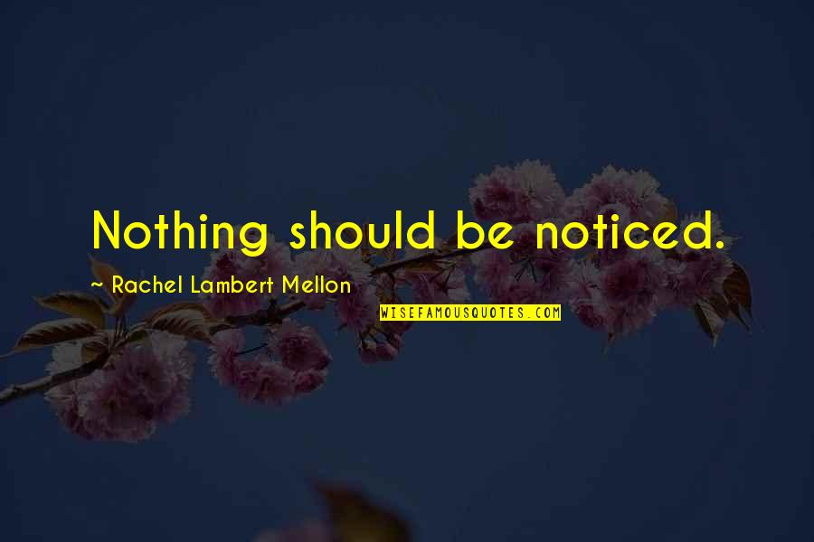 Mellon Quotes By Rachel Lambert Mellon: Nothing should be noticed.
