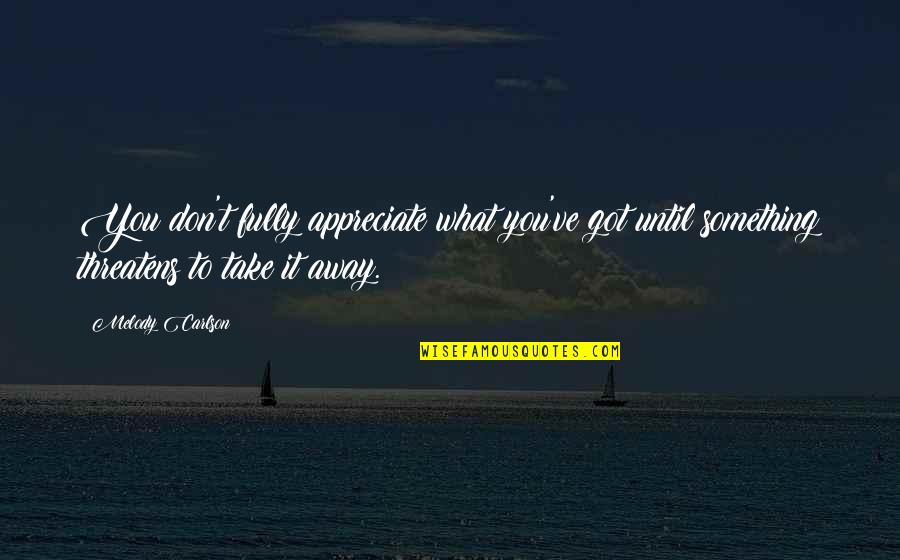 Melody Carlson Quotes By Melody Carlson: You don't fully appreciate what you've got until