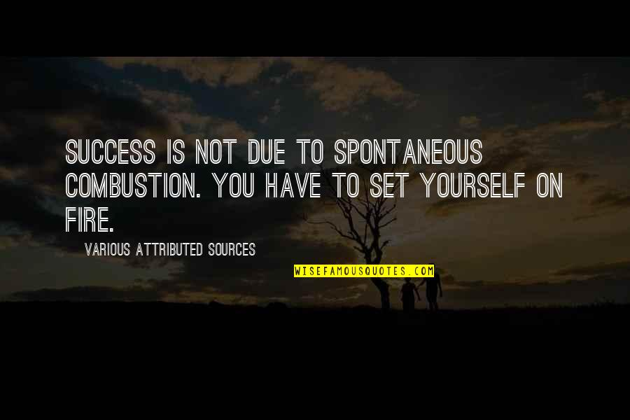 Memoir Quotes By Various Attributed Sources: Success is not due to spontaneous combustion. You