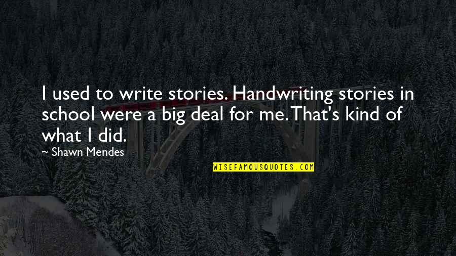 Mendes Quotes By Shawn Mendes: I used to write stories. Handwriting stories in