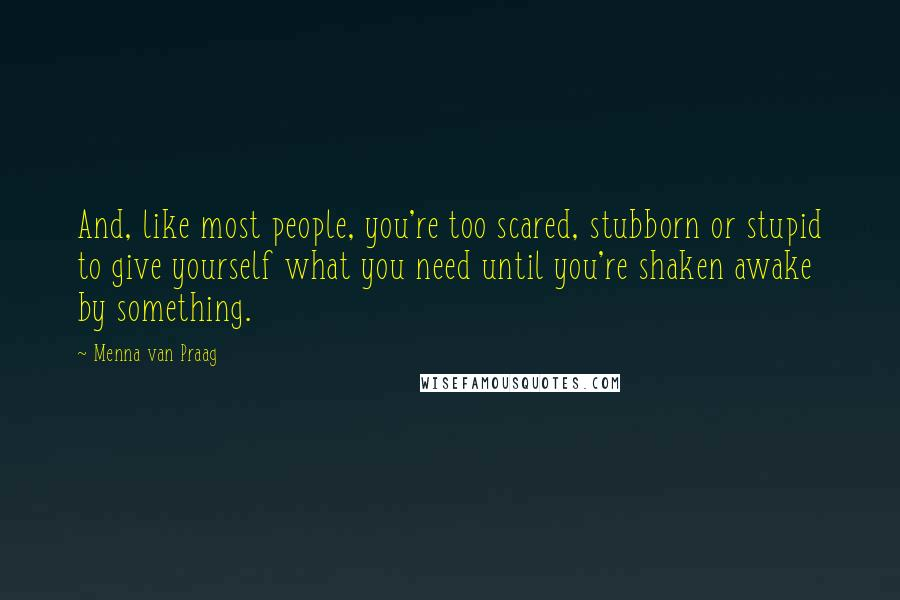 Menna Van Praag quotes: And, like most people, you're too scared, stubborn or stupid to give yourself what you need until you're shaken awake by something.