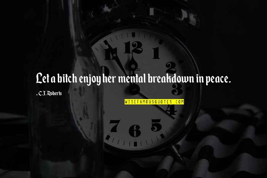 Mental Breakdown Quotes By C.J. Roberts: Let a bitch enjoy her mental breakdown in