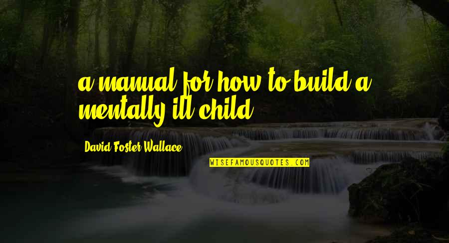 Mental Health Illness Quotes By David Foster Wallace: a manual for how to build a mentally