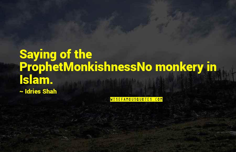 Mental Health Recovery Inspirational Quotes By Idries Shah: Saying of the ProphetMonkishnessNo monkery in Islam.