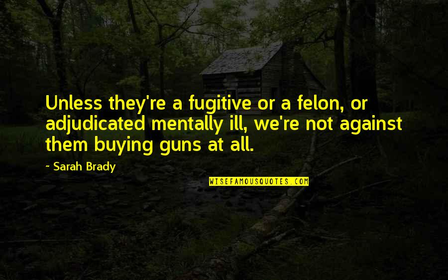 Mentally Ill Quotes By Sarah Brady: Unless they're a fugitive or a felon, or