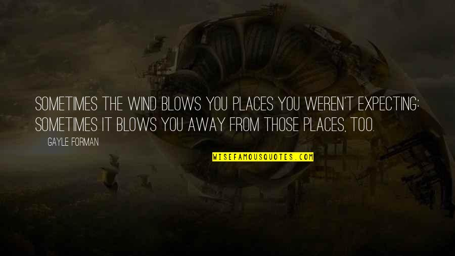 Menyah Quotes By Gayle Forman: Sometimes the wind blows you places you weren't