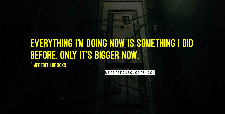 Meredith Brooks quotes: Everything I'm doing now is something I did before, only it's bigger now.