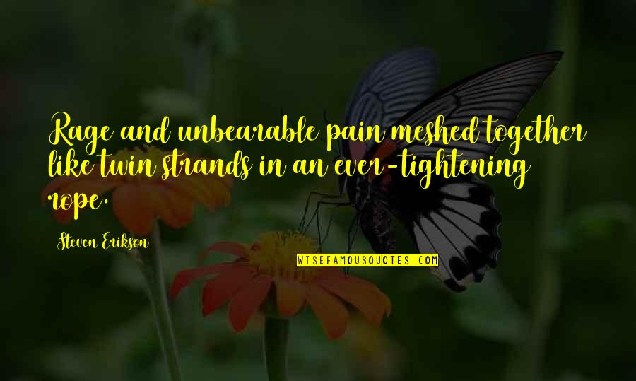 Meshed Quotes By Steven Erikson: Rage and unbearable pain meshed together like twin
