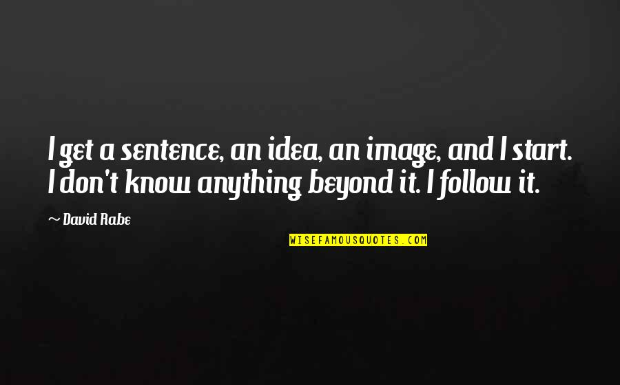 Metallurgical Quotes By David Rabe: I get a sentence, an idea, an image,
