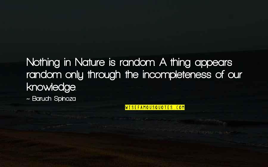 Metalsmithing Quotes By Baruch Spinoza: Nothing in Nature is random. A thing appears