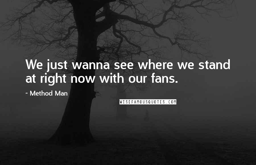 Method Man quotes: We just wanna see where we stand at right now with our fans.