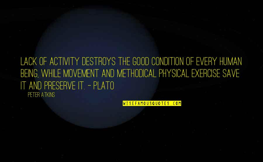 Methodical Quotes By Peter Atkins: Lack of activity destroys the good condition of