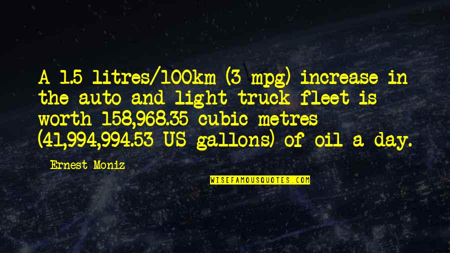 Metres Quotes By Ernest Moniz: A 1.5 litres/100km (3 mpg) increase in the