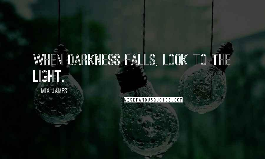 Mia James quotes: When darkness falls, look to the light.