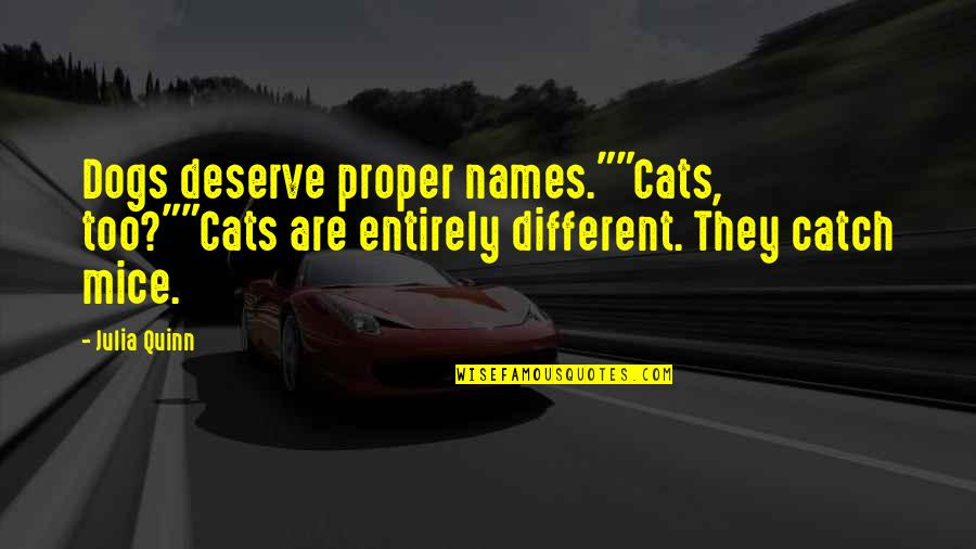 """Mice And Cats Quotes By Julia Quinn: Dogs deserve proper names.""""""""Cats, too?""""""""Cats are entirely different."""