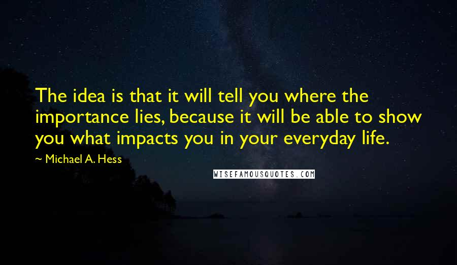Michael A. Hess quotes: The idea is that it will tell you where the importance lies, because it will be able to show you what impacts you in your everyday life.