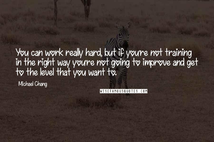 Michael Chang quotes: You can work really hard, but if you're not training in the right way you're not going to improve and get to the level that you want to.