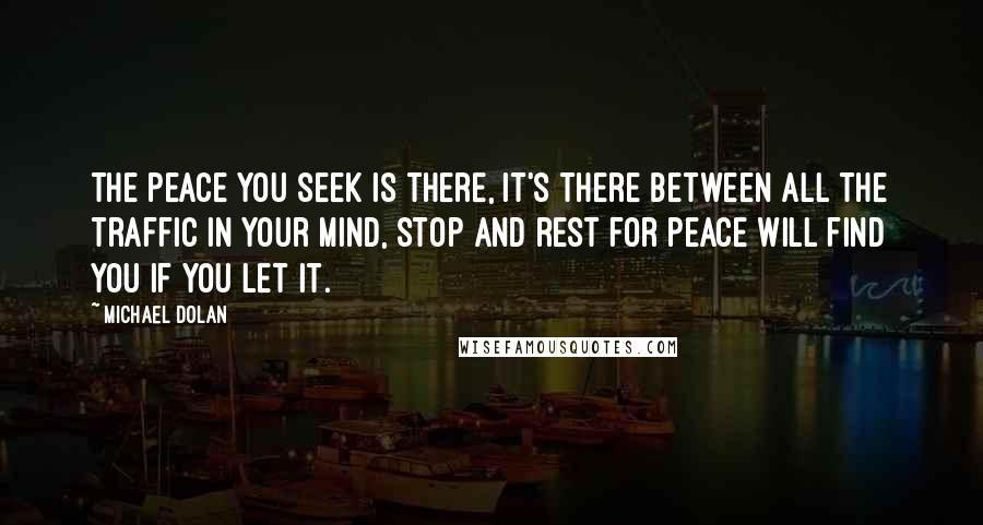Michael Dolan quotes: The peace you seek is there, it's there between all the traffic in your mind, stop and rest for peace will find you if you let it.