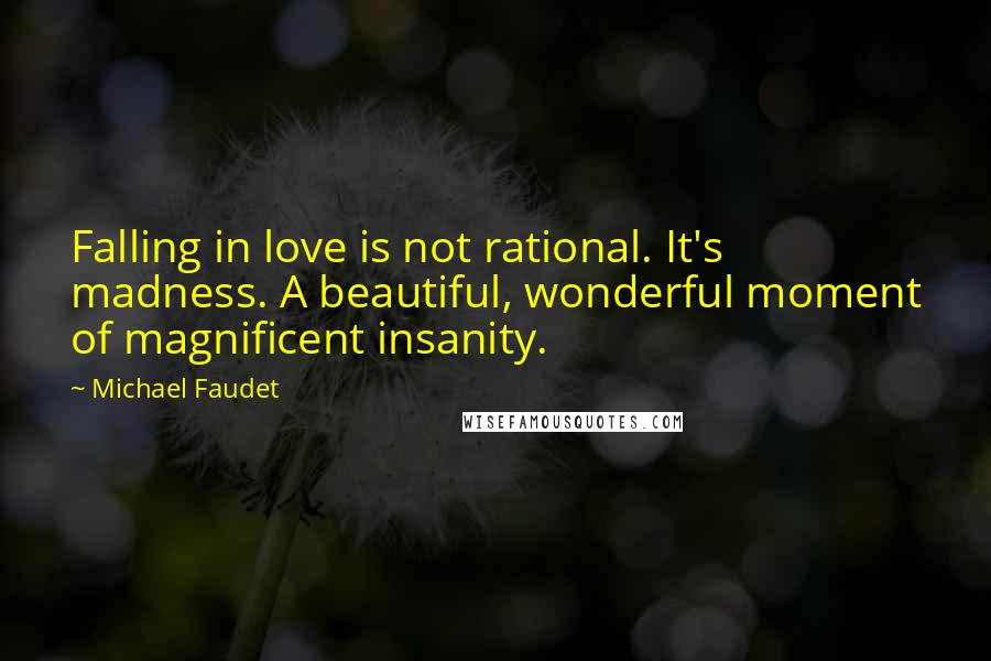 Michael Faudet quotes: Falling in love is not rational. It's madness. A beautiful, wonderful moment of magnificent insanity.