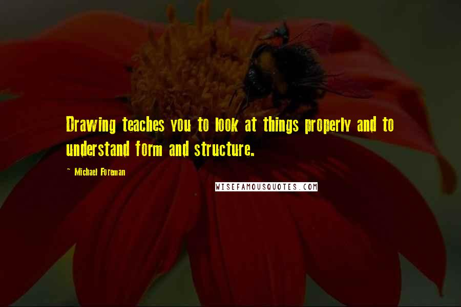 Michael Foreman quotes: Drawing teaches you to look at things properly and to understand form and structure.