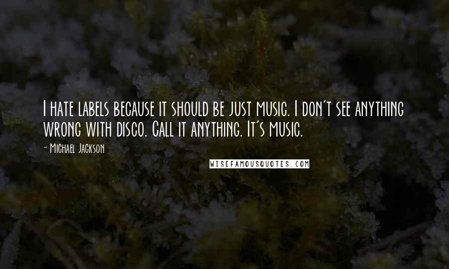 Michael Jackson quotes: I hate labels because it should be just music. I don't see anything wrong with disco. Call it anything. It's music.