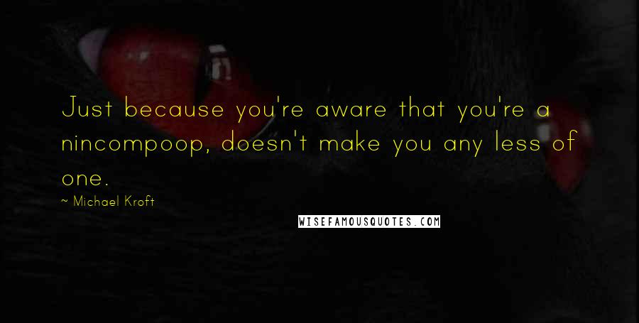 Michael Kroft quotes: Just because you're aware that you're a nincompoop, doesn't make you any less of one.