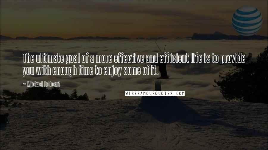 Michael LeBoeuf quotes: The ultimate goal of a more effective and efficient life is to provide you with enough time to enjoy some of it.