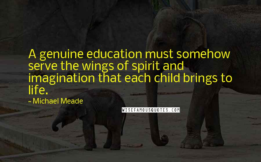 Michael Meade quotes: A genuine education must somehow serve the wings of spirit and imagination that each child brings to life.