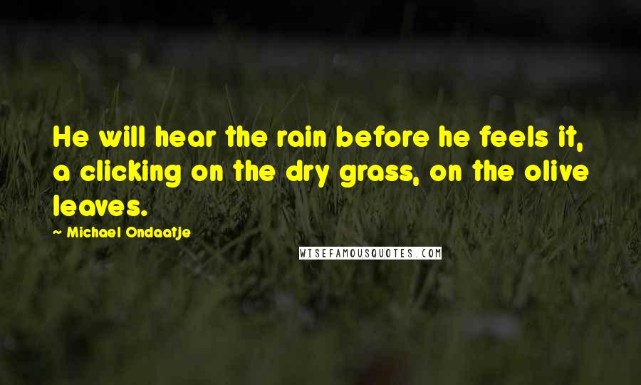 Michael Ondaatje quotes: He will hear the rain before he feels it, a clicking on the dry grass, on the olive leaves.