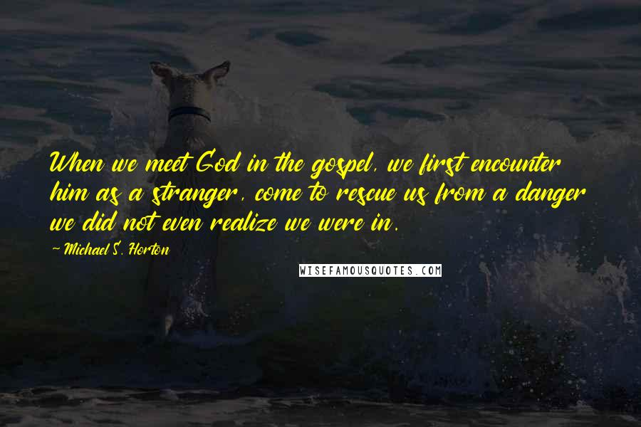 Michael S. Horton quotes: When we meet God in the gospel, we first encounter him as a stranger, come to rescue us from a danger we did not even realize we were in.