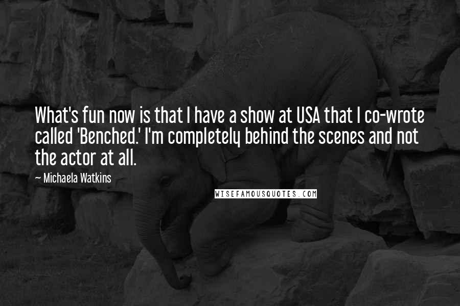 Michaela Watkins quotes: What's fun now is that I have a show at USA that I co-wrote called 'Benched.' I'm completely behind the scenes and not the actor at all.