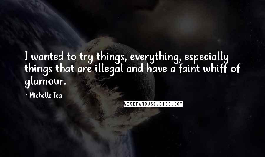 Michelle Tea quotes: I wanted to try things, everything, especially things that are illegal and have a faint whiff of glamour.