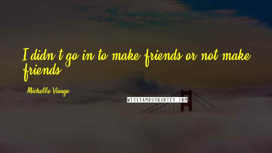 Michelle Visage quotes: I didn't go in to make friends or not make friends.