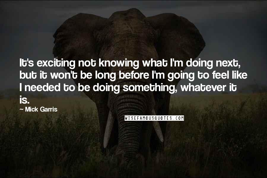 Mick Garris quotes: It's exciting not knowing what I'm doing next, but it won't be long before I'm going to feel like I needed to be doing something, whatever it is.