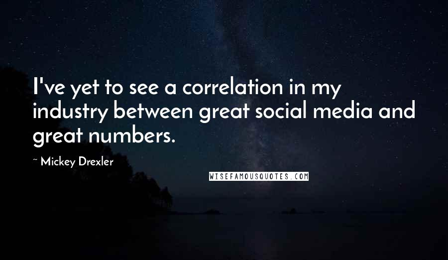 Mickey Drexler quotes: I've yet to see a correlation in my industry between great social media and great numbers.
