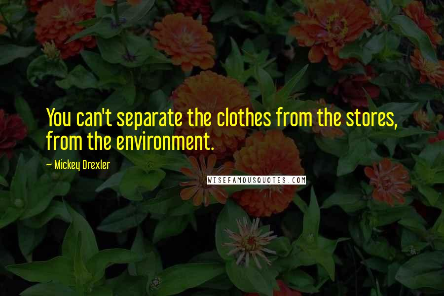 Mickey Drexler quotes: You can't separate the clothes from the stores, from the environment.