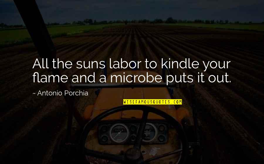 Microbe Quotes By Antonio Porchia: All the suns labor to kindle your flame