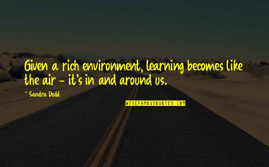 Microbus Quotes By Sandra Dodd: Given a rich environment, learning becomes like the