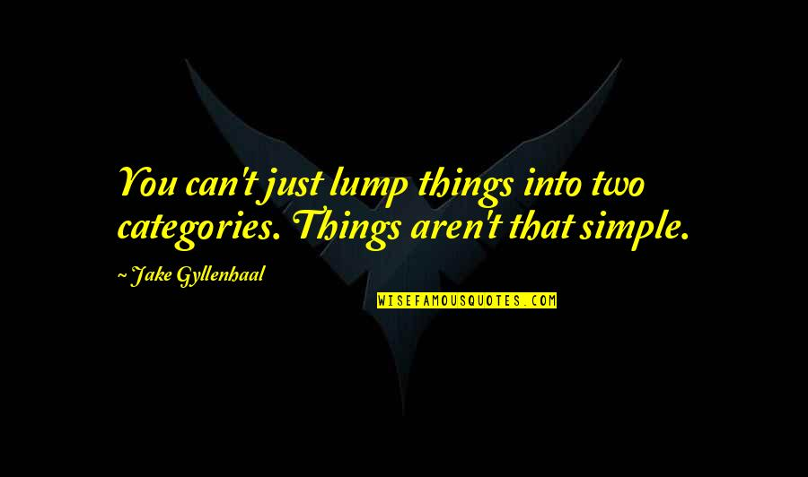 Middle Colonie Quotes By Jake Gyllenhaal: You can't just lump things into two categories.