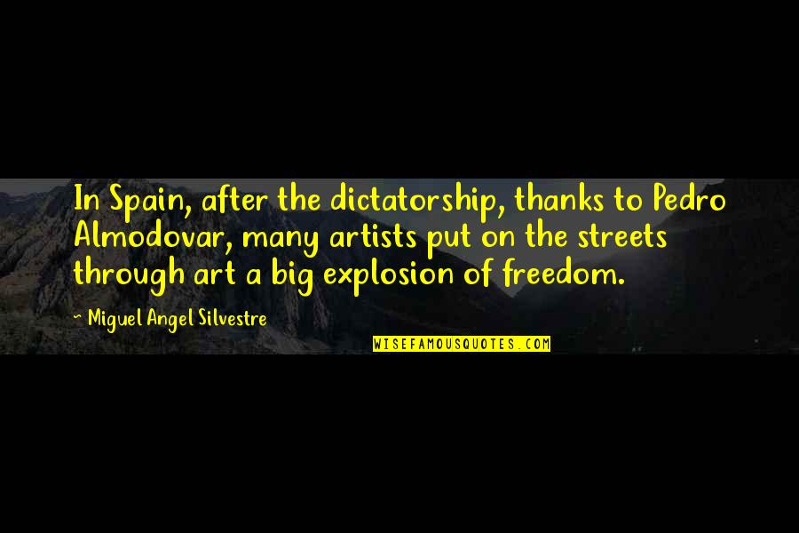 Miguel Angel Quotes By Miguel Angel Silvestre: In Spain, after the dictatorship, thanks to Pedro