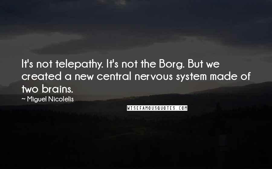 Miguel Nicolelis quotes: It's not telepathy. It's not the Borg. But we created a new central nervous system made of two brains.